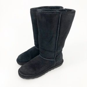 Bearpaw Classic Tall Black Shearling Boots Size 8